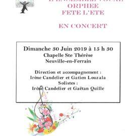 Prochain Concert de l'Ensemble Vocal Orphée